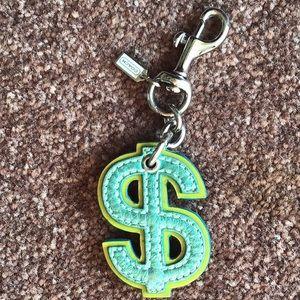 Rare Coach dollar sign keychain